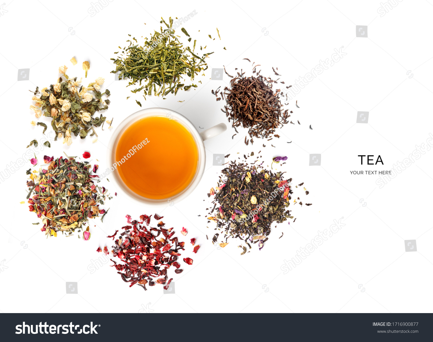 Creative layout made of cup of tea, green tea, black tea, fruit and herbal tea, sencha, ginger on white background.Flat lay. Food concept. #1716900877