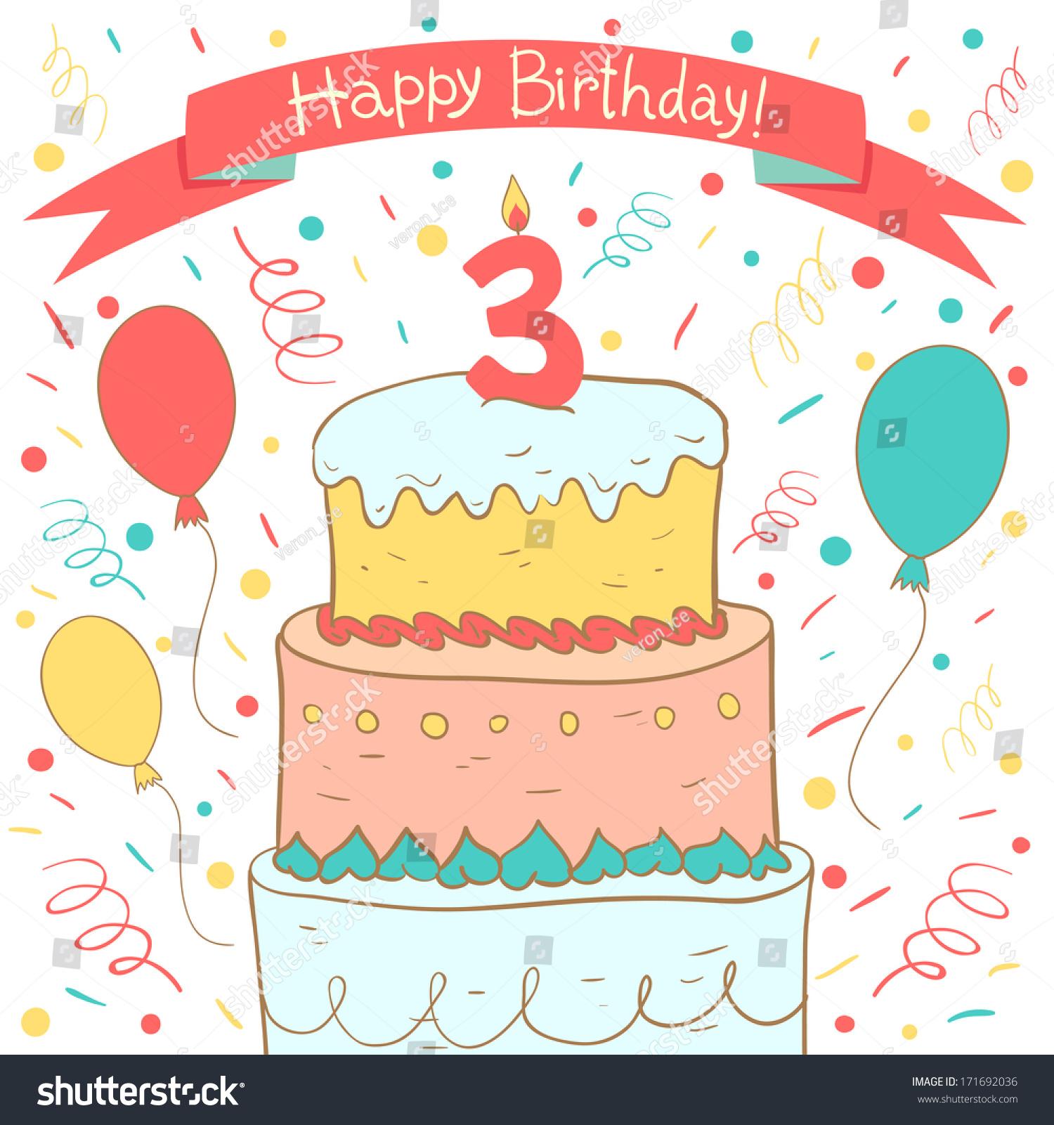 Cute Happy Birthday Card Birthday Cake Stock Vector Royalty Free