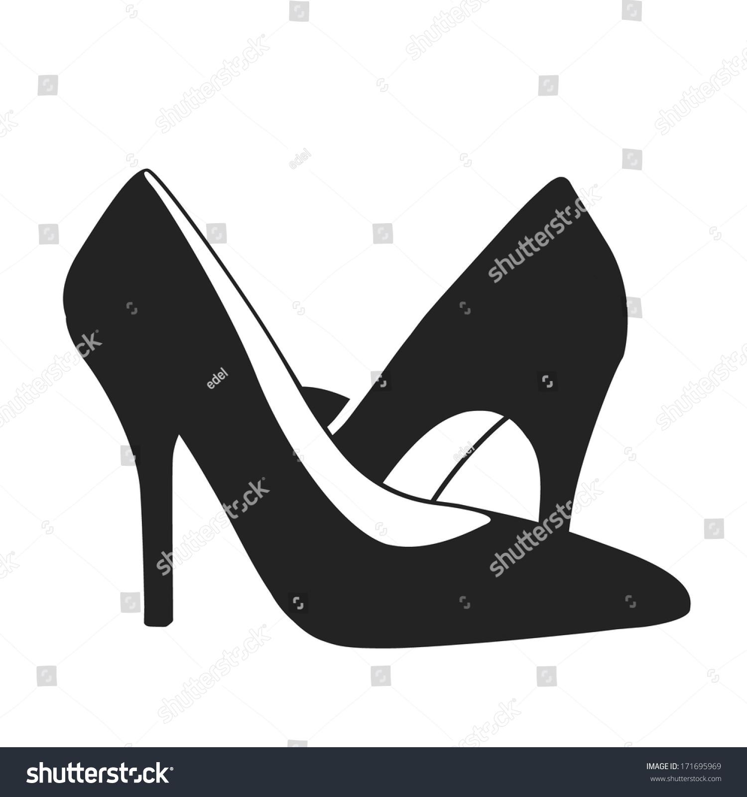 Schuhe mit hoher Ferse Silhouette schwarz weiß Stock