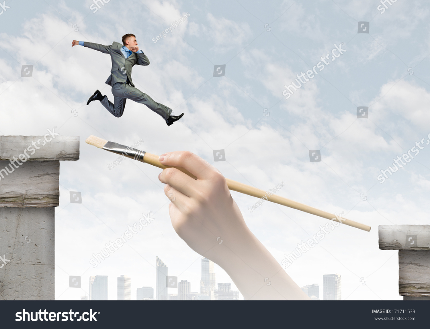 Young successful businessman jumping over gap stock photo for Jump the gap