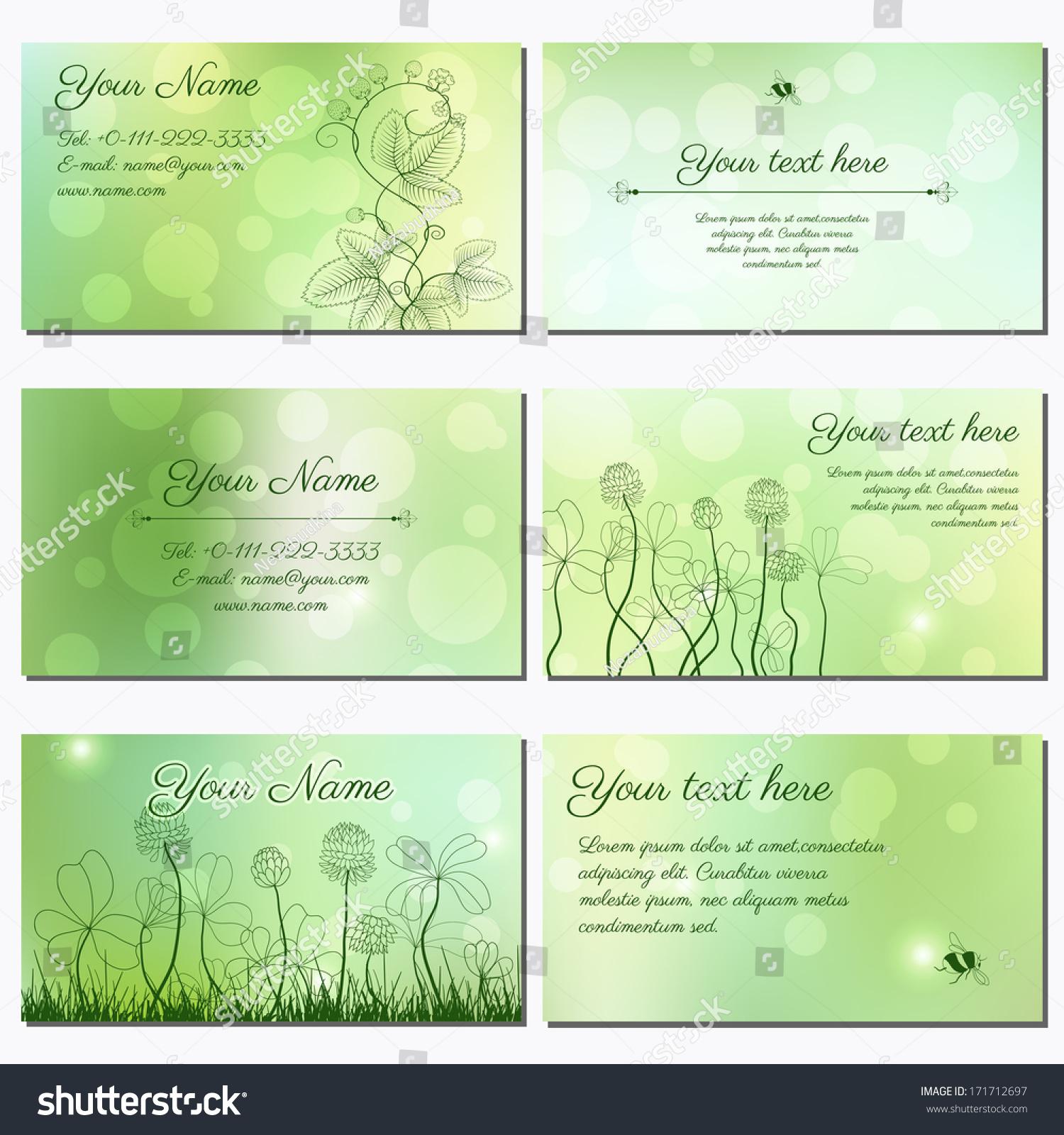 Set Six Horizontal Business Cards Spring Stock Vector 171712697 ...