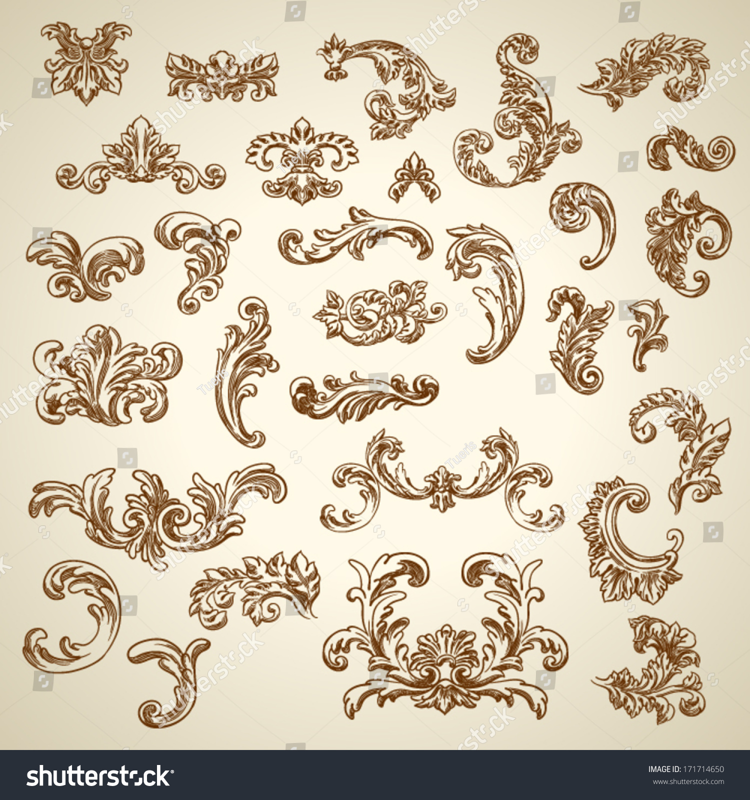 Antique Scroll Design: Set Of Vector Vintage Baroque Engraving Floral Scroll