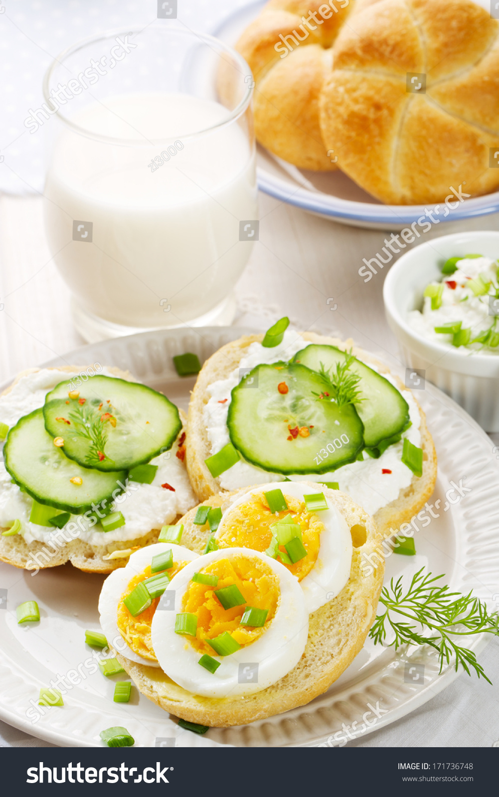 healthy breakfast fresh canapes with egg cottage cheese. Black Bedroom Furniture Sets. Home Design Ideas
