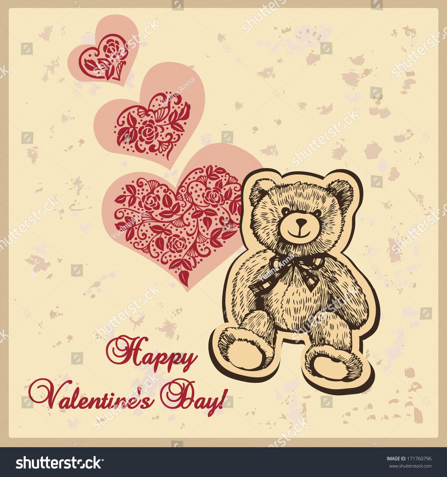 Card Valentines Day Hearts Teddy Bear Stock Vector 171760796