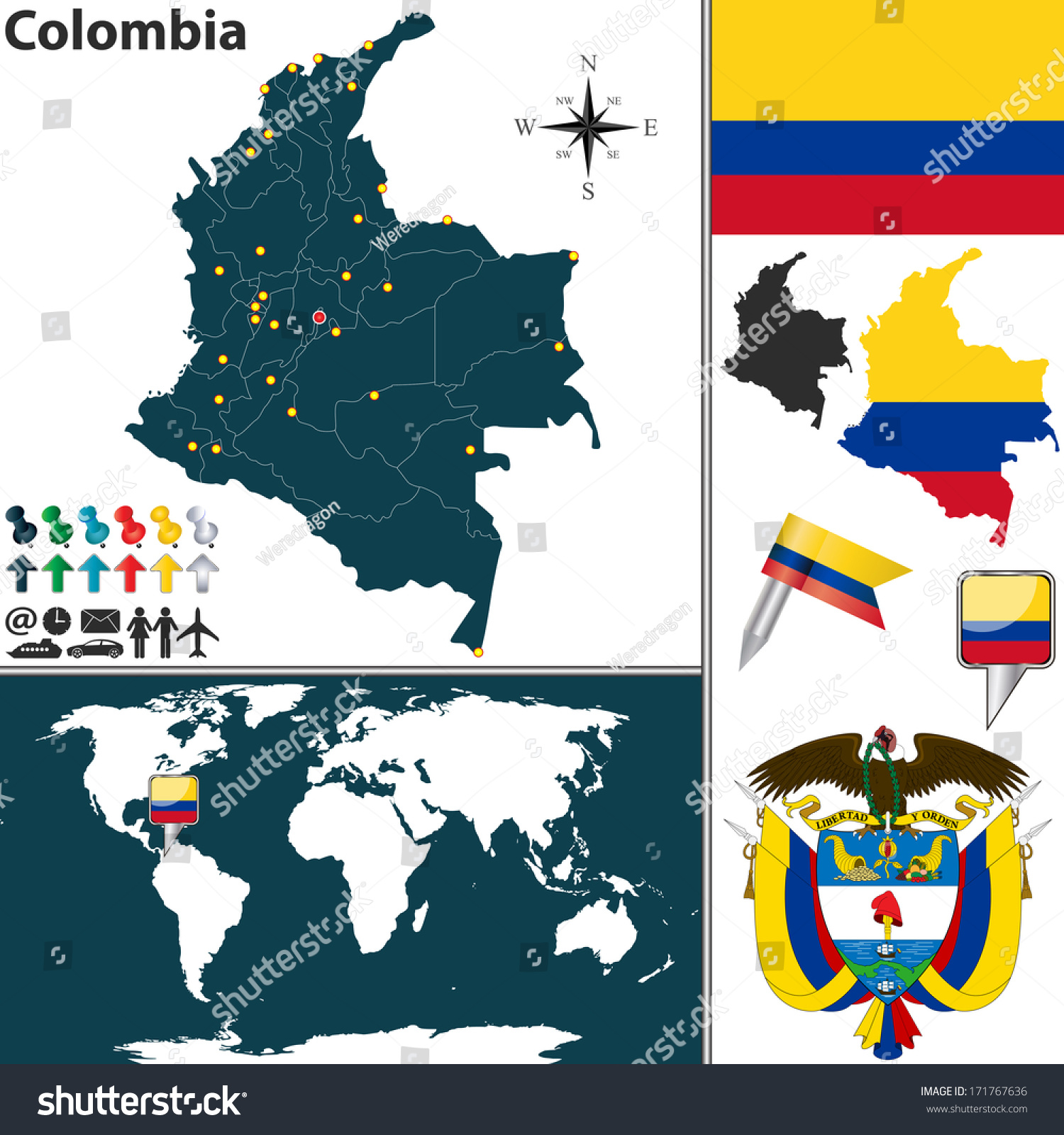 Vector map colombia regions coat arms vectores en stock 171767636 vector map colombia regions coat arms vectores en stock 171767636 shutterstock gumiabroncs Images