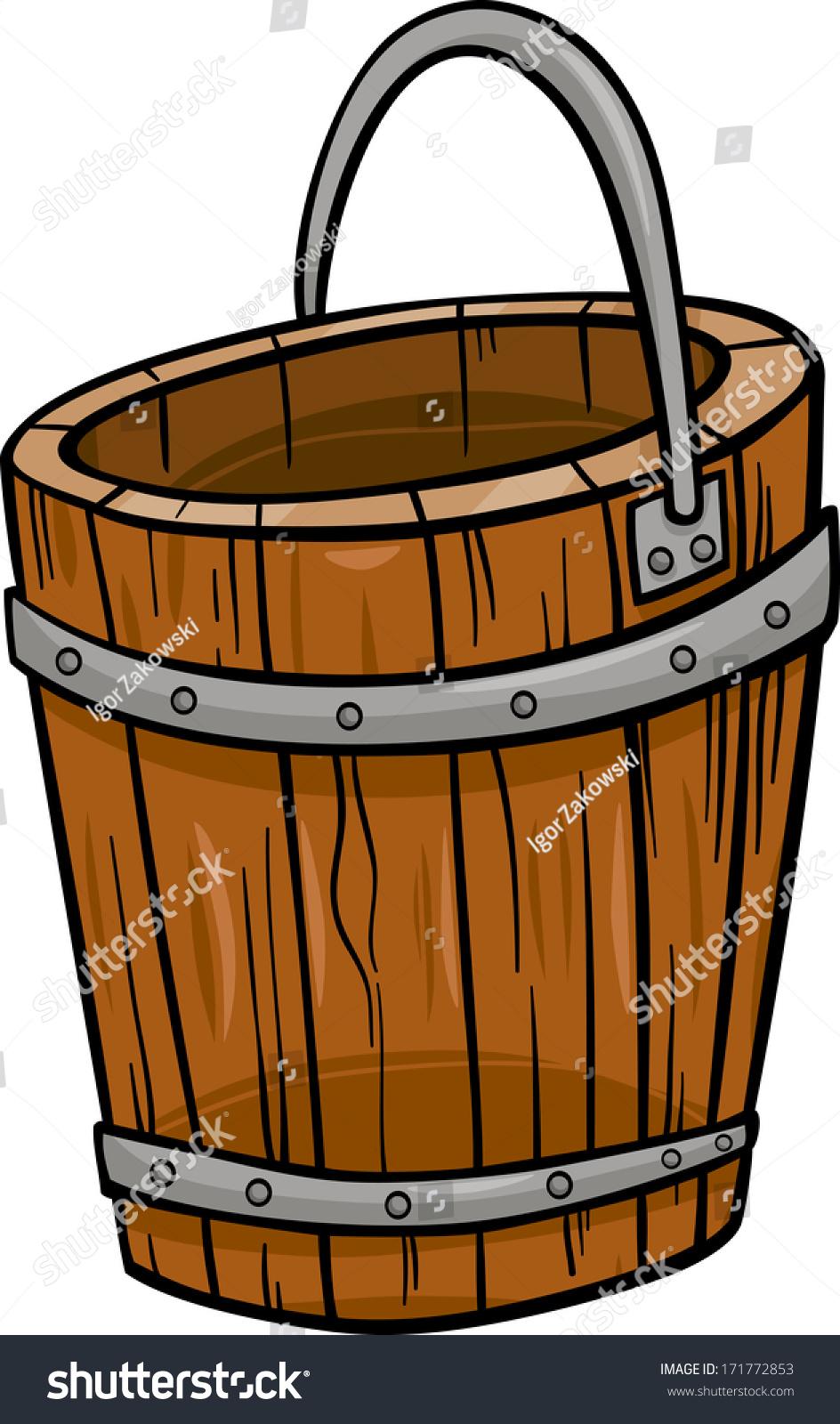 Cartoon Vector Illustration Wooden Bucket Retro Stock Vector ...
