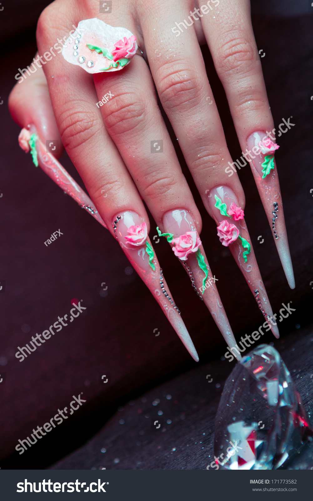 Extreme Nails Hands Diamond Isolated On Stock Photo 171773582 ...