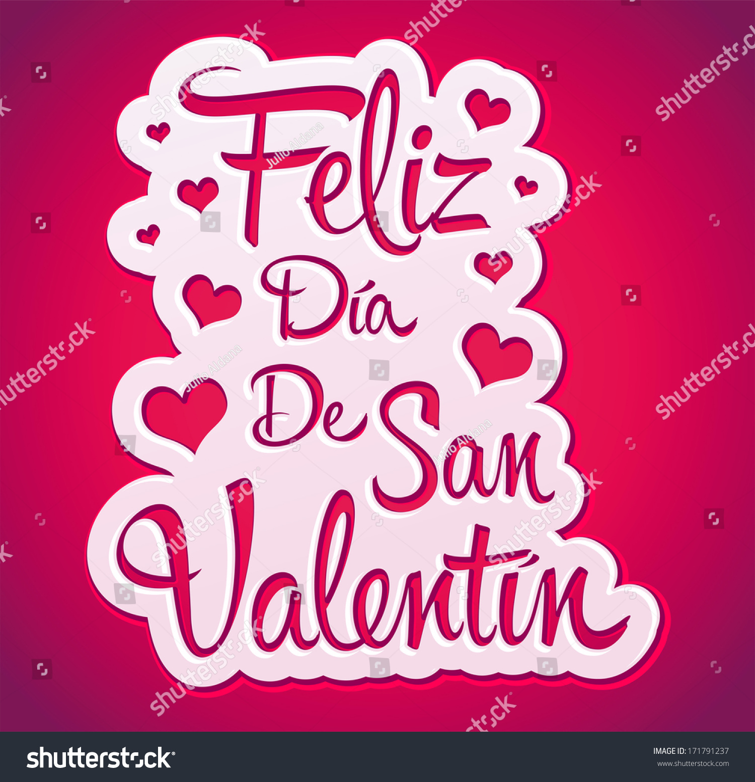 Happy Valentines day spanish text  peeling sticker  vector