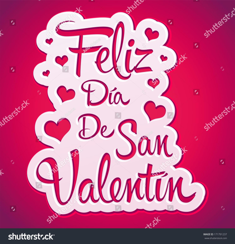 Feliz Dia De San Valentin   Happy Valentines Day Spanish Text   Peeling  Sticker   Vector