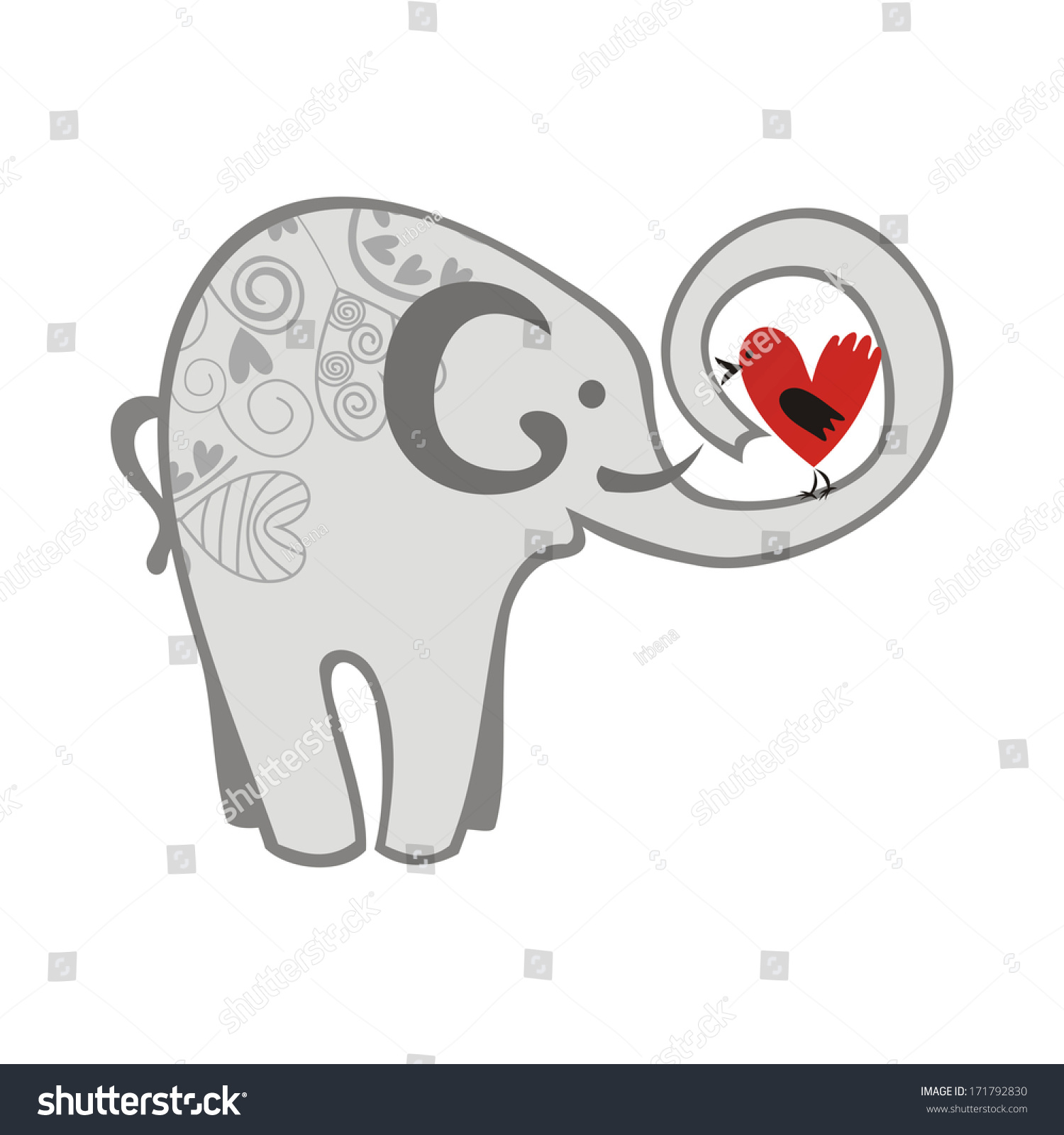 Elephant Bird Heart Love Valentines Day Illustration – Elephant Valentines Card