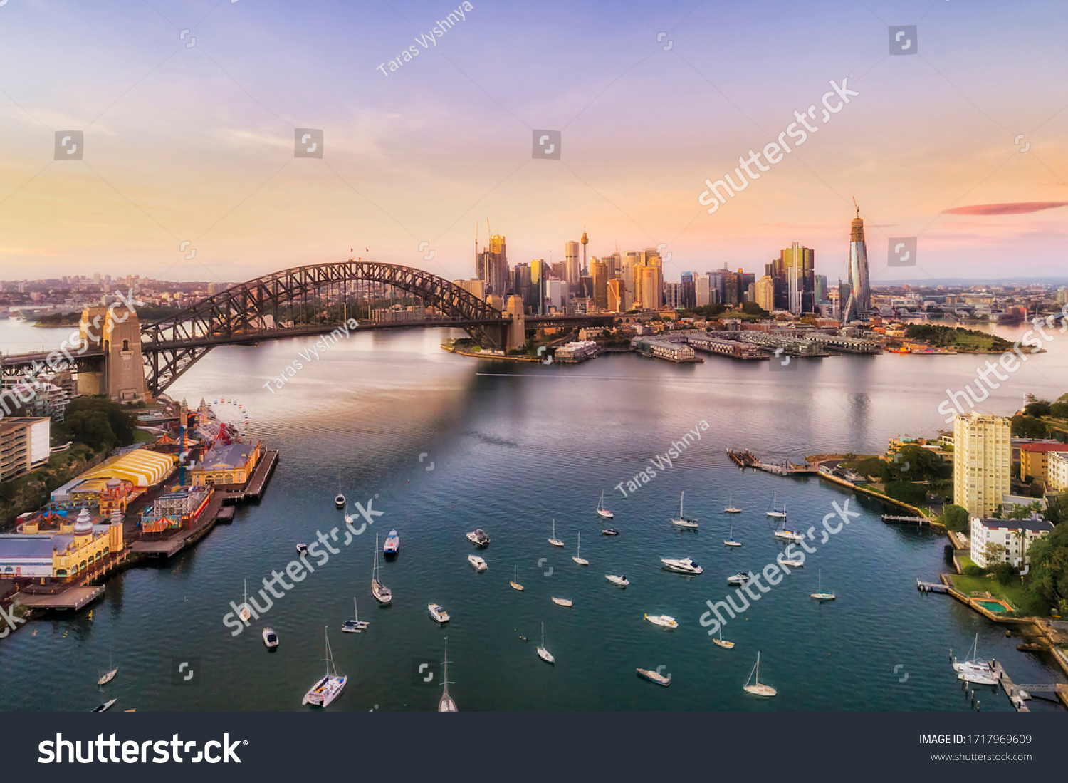 Sunrise in Sydney city - aerial view from Lavender bay to the Sydney harbour bridge and CBD skyline. #1717969609