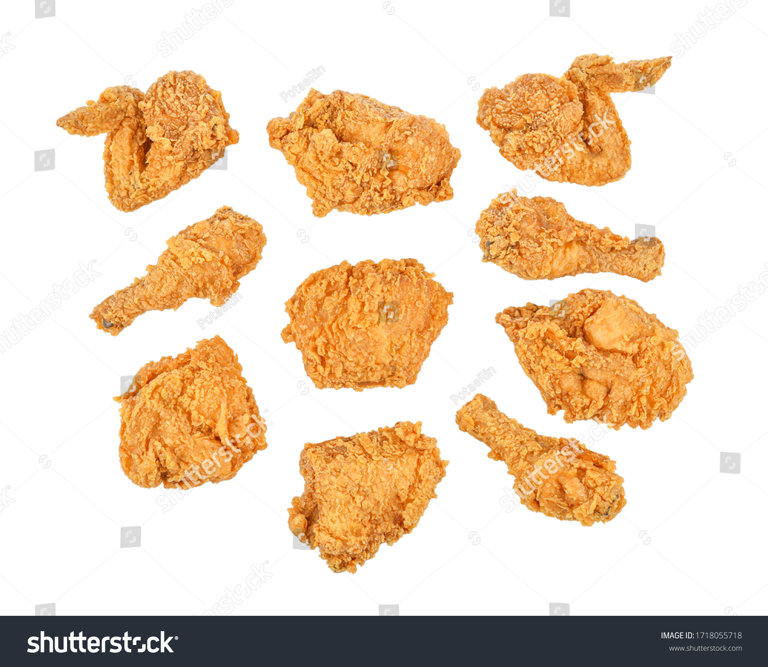 Set of fried chicken isolated on white background. Top view #1718055718