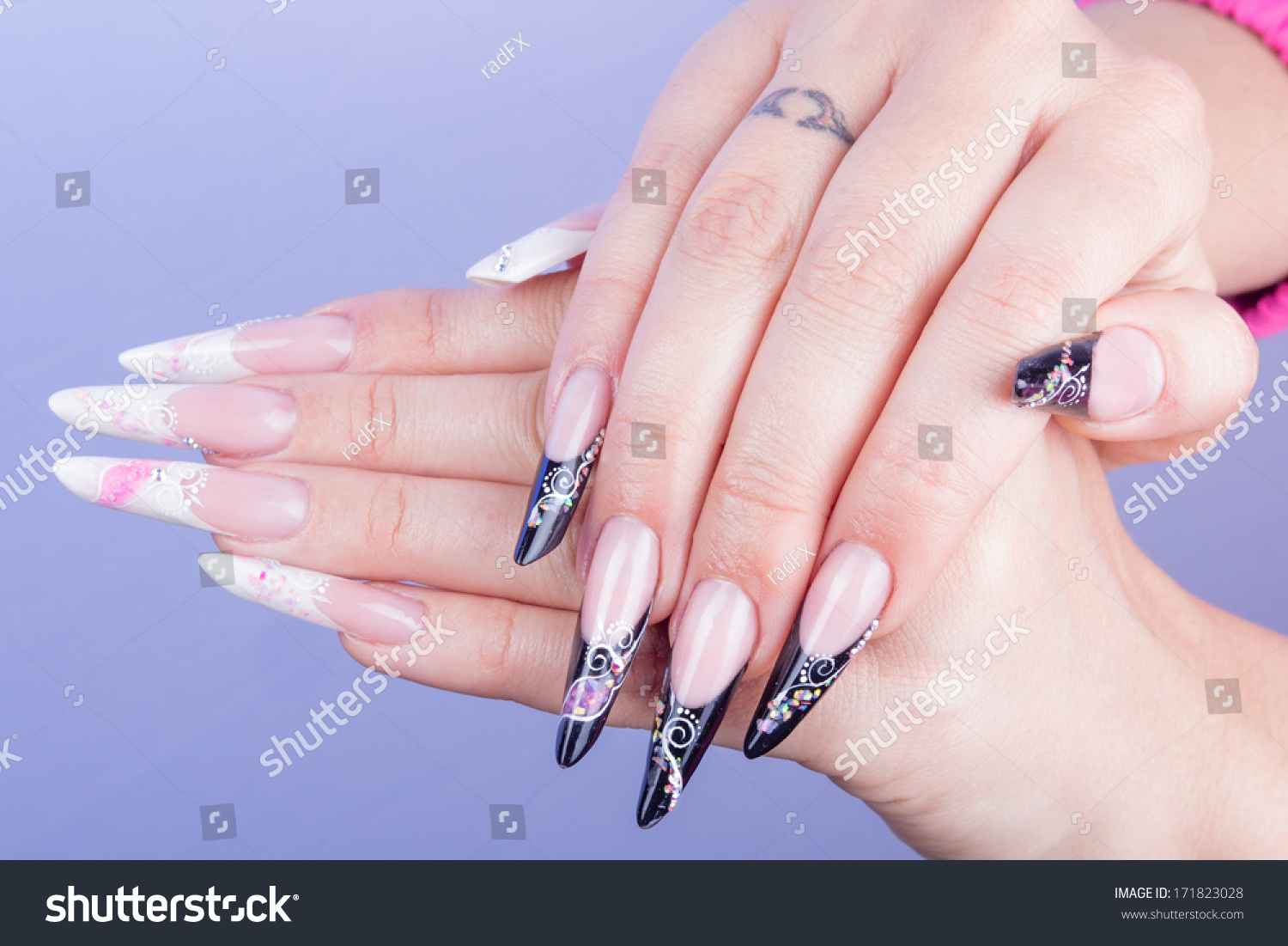 Woman Hand Dark Pink Nails Isolated Stock Photo 171823028 - Shutterstock