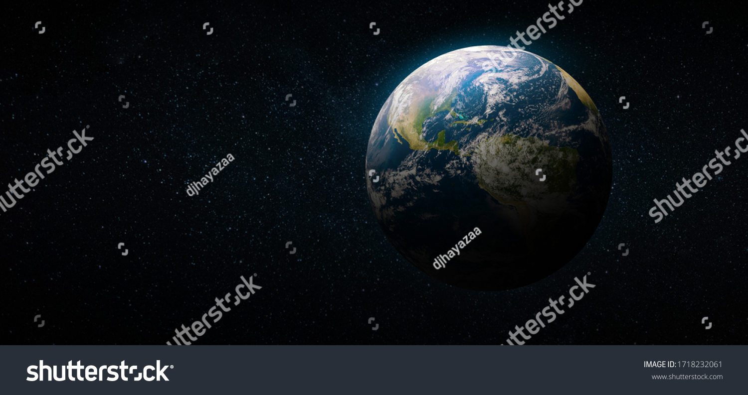 Earth in the space. Blue planet for wallpaper. Green planet or Globe on galaxy. Elements of this image furnished by NASA #1718232061