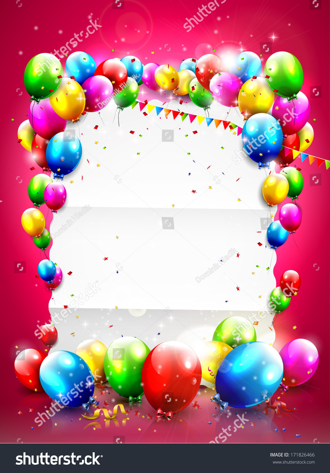 birthday template flying balloons empty paper stock vector birthday template flying balloons and empty paper on red background