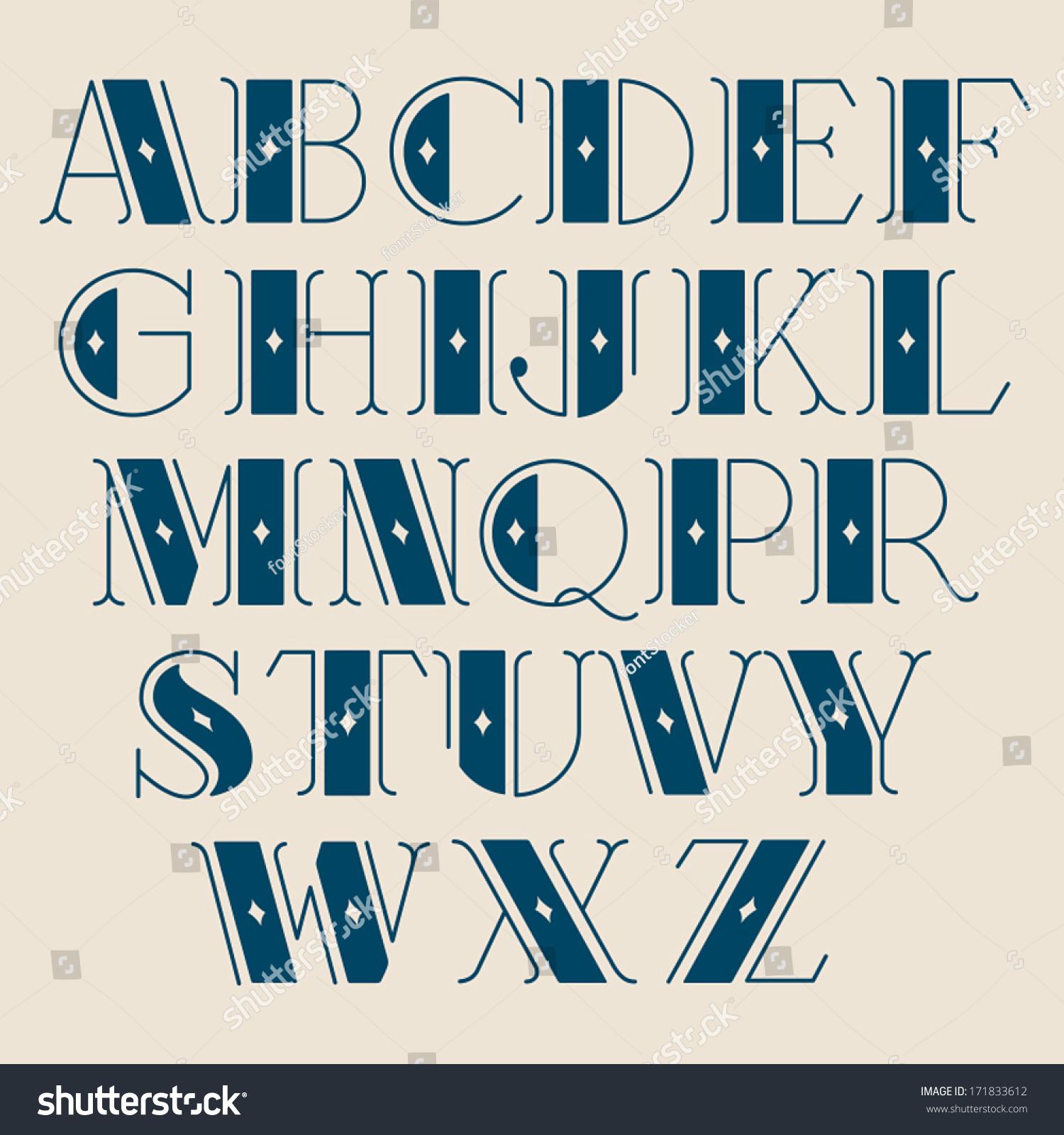 Vector Retro Alphabet Type Font Vintage Stock Vector