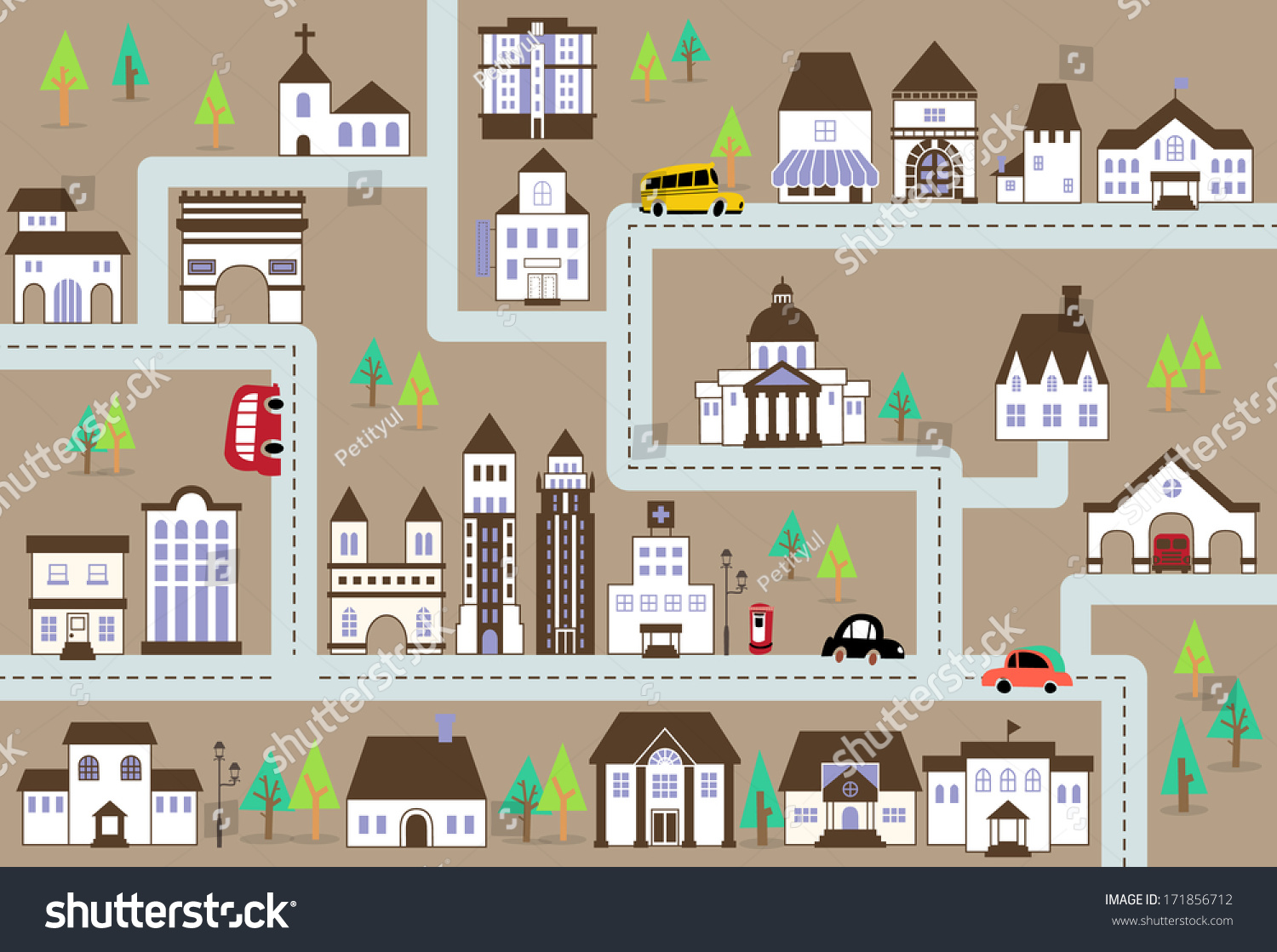 City Map Illustration With A Variety Of Buildings Grocery Shopschoolhospital