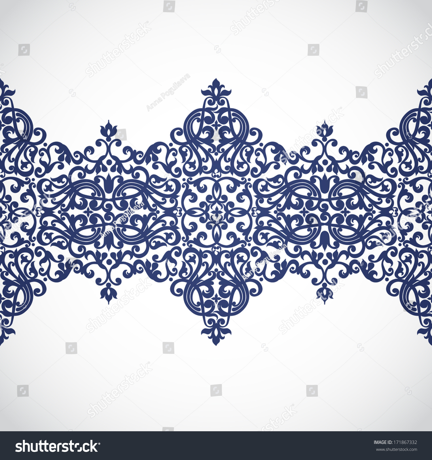 Vector baroque border in victorian style element for for Baroque design clothes