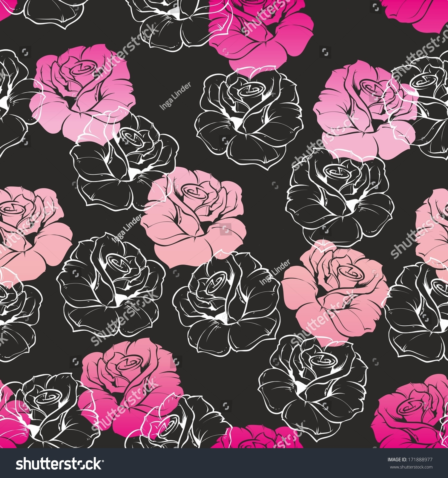 Seamless Dark Floral Pattern Pink White Stock Illustration 171888977