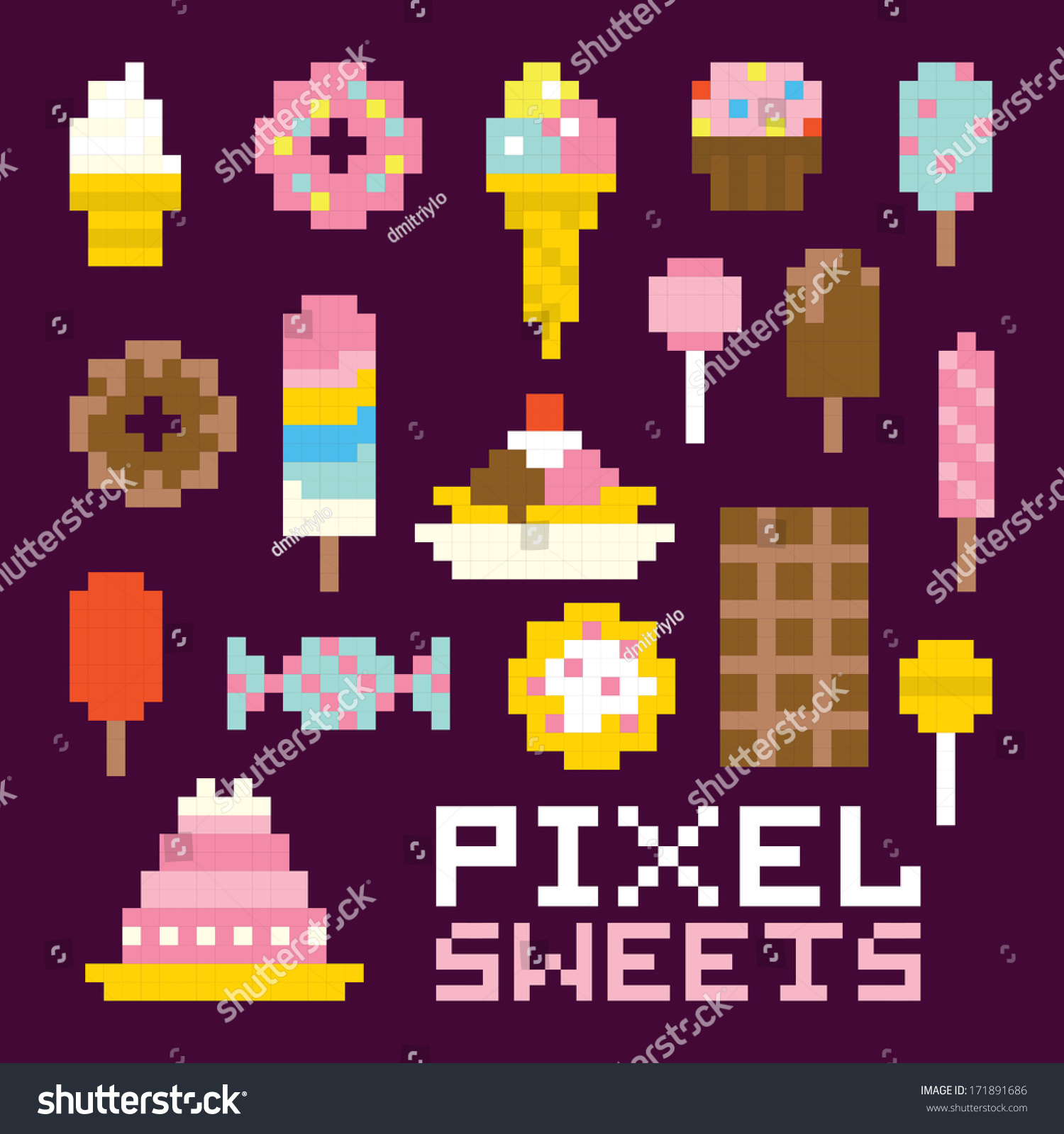 Pixel Art Isolated Sweets Vector Set Royalty Free Stock Image