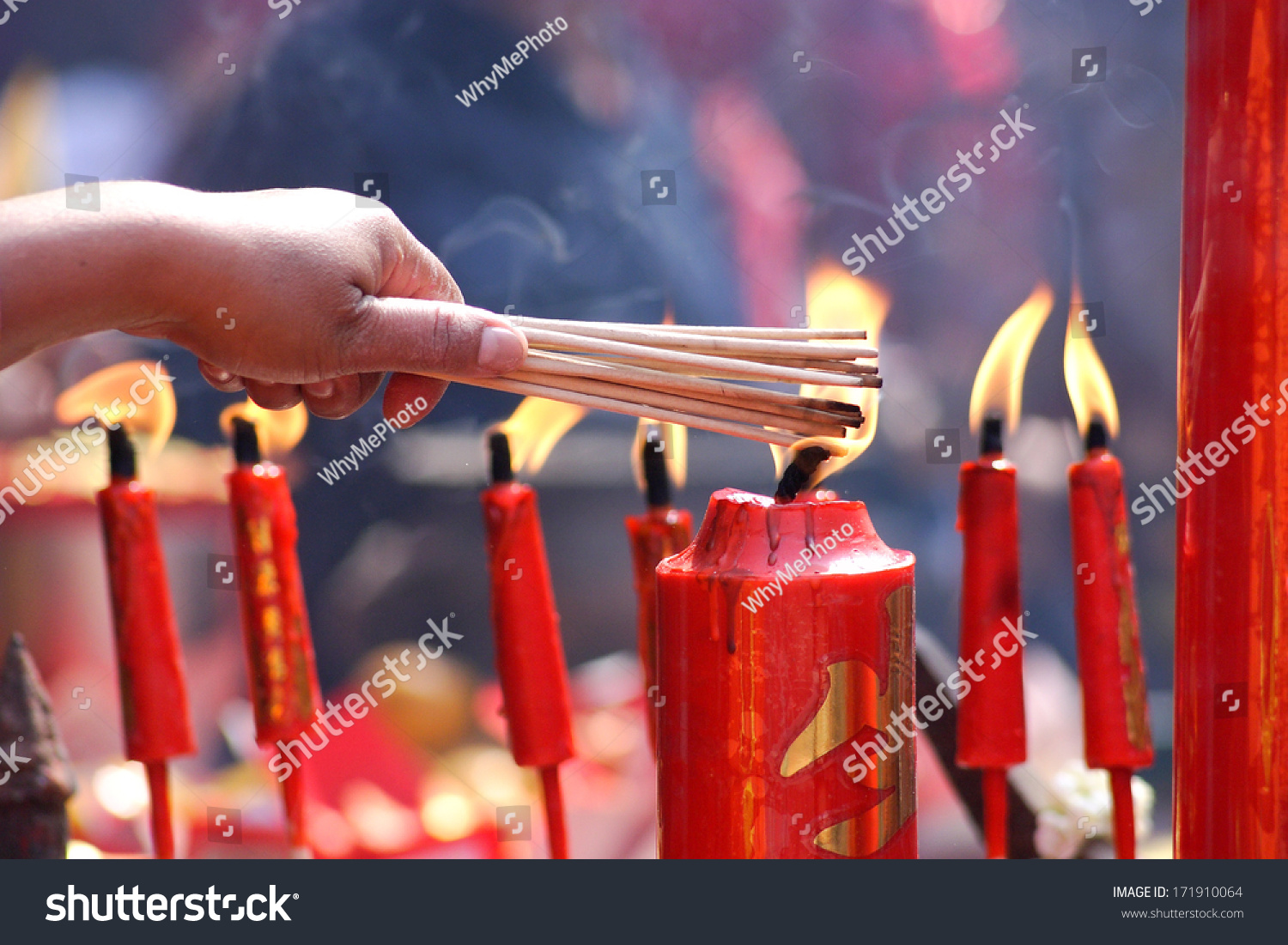 People Prayers Burning Incense Sticks On Stock Photo (Edit