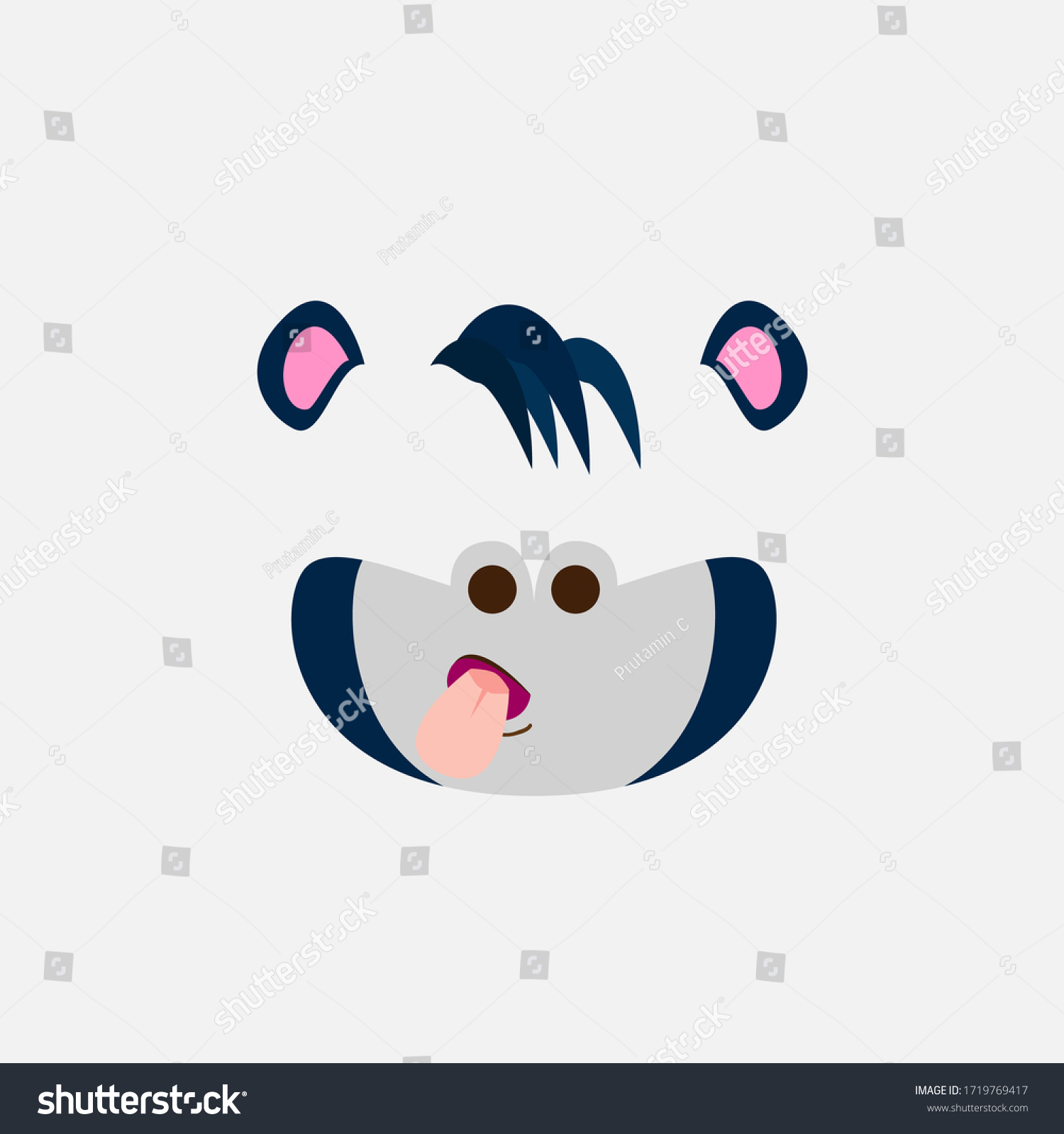 gorillas funny mask for kids party, vector design illustration