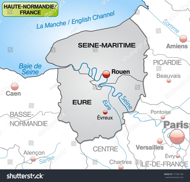Map Upper Normandy Borders Gray Stock Illustration 171981164