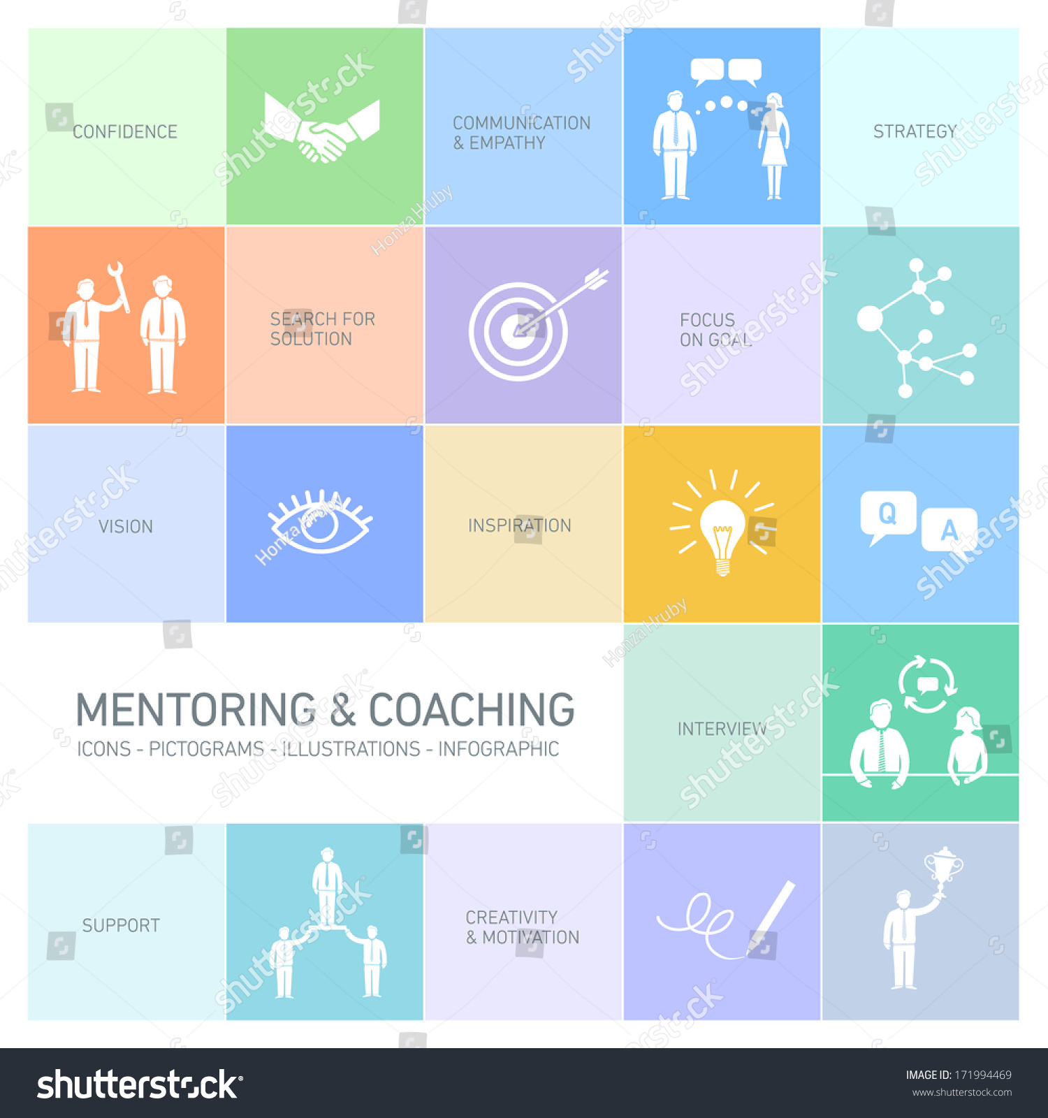 vector abstract mentoring coaching icons pictograms stock vector vector abstract mentoring and coaching icons and pictograms set of skills and solutions