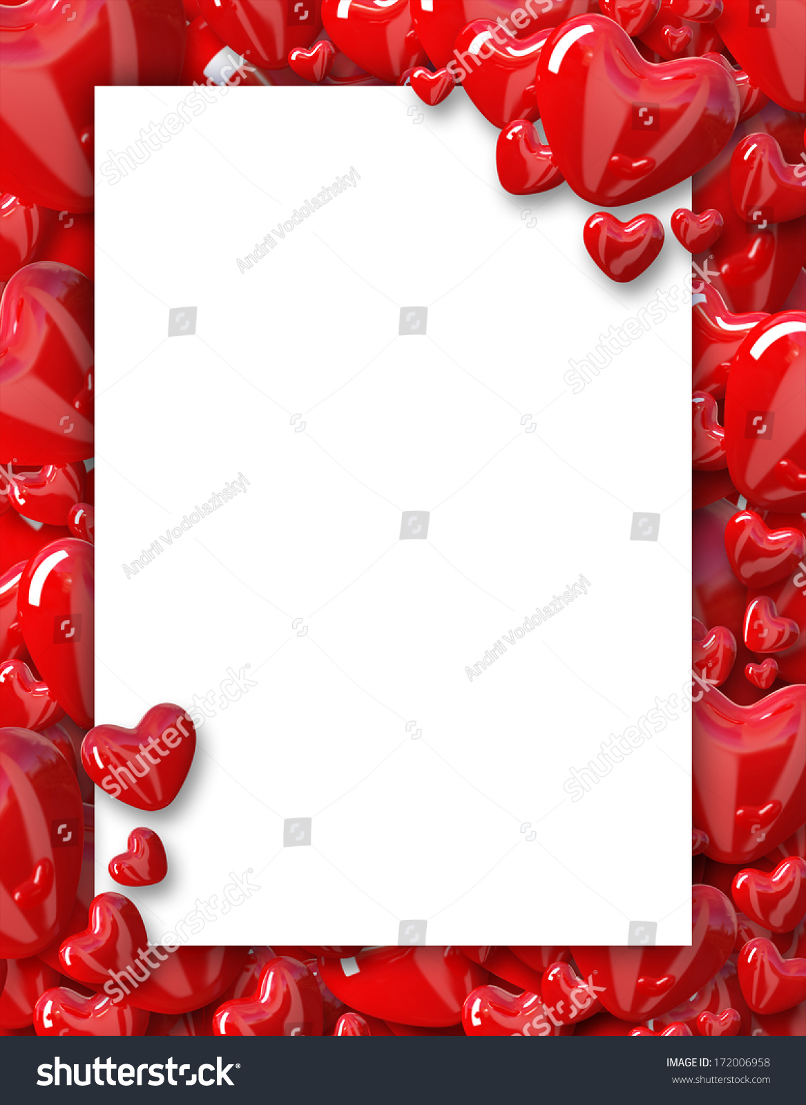 Valentines Day Background Frame Hearts Stock Illustration 172006958 ...