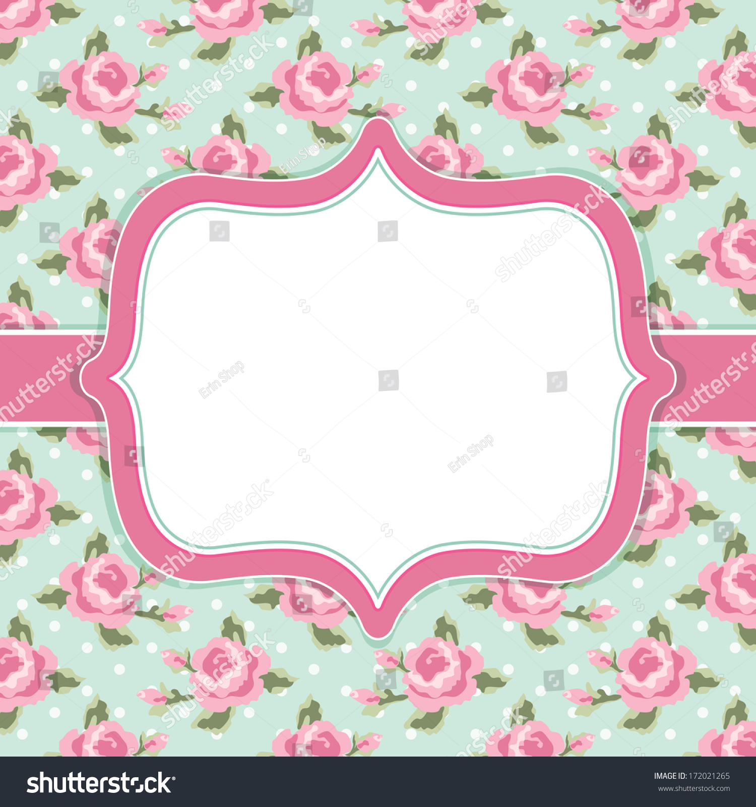 Royalty free Retro card with roses in shabby chic…
