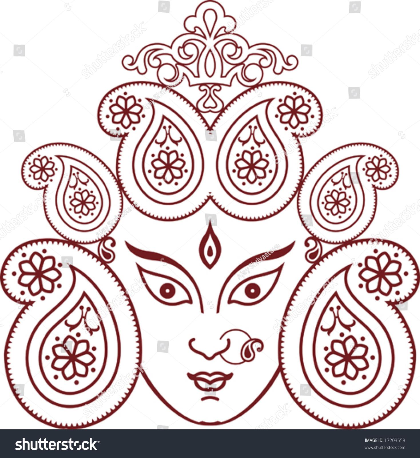 Durga Indian Goddess Ornamental Design Stock Vector