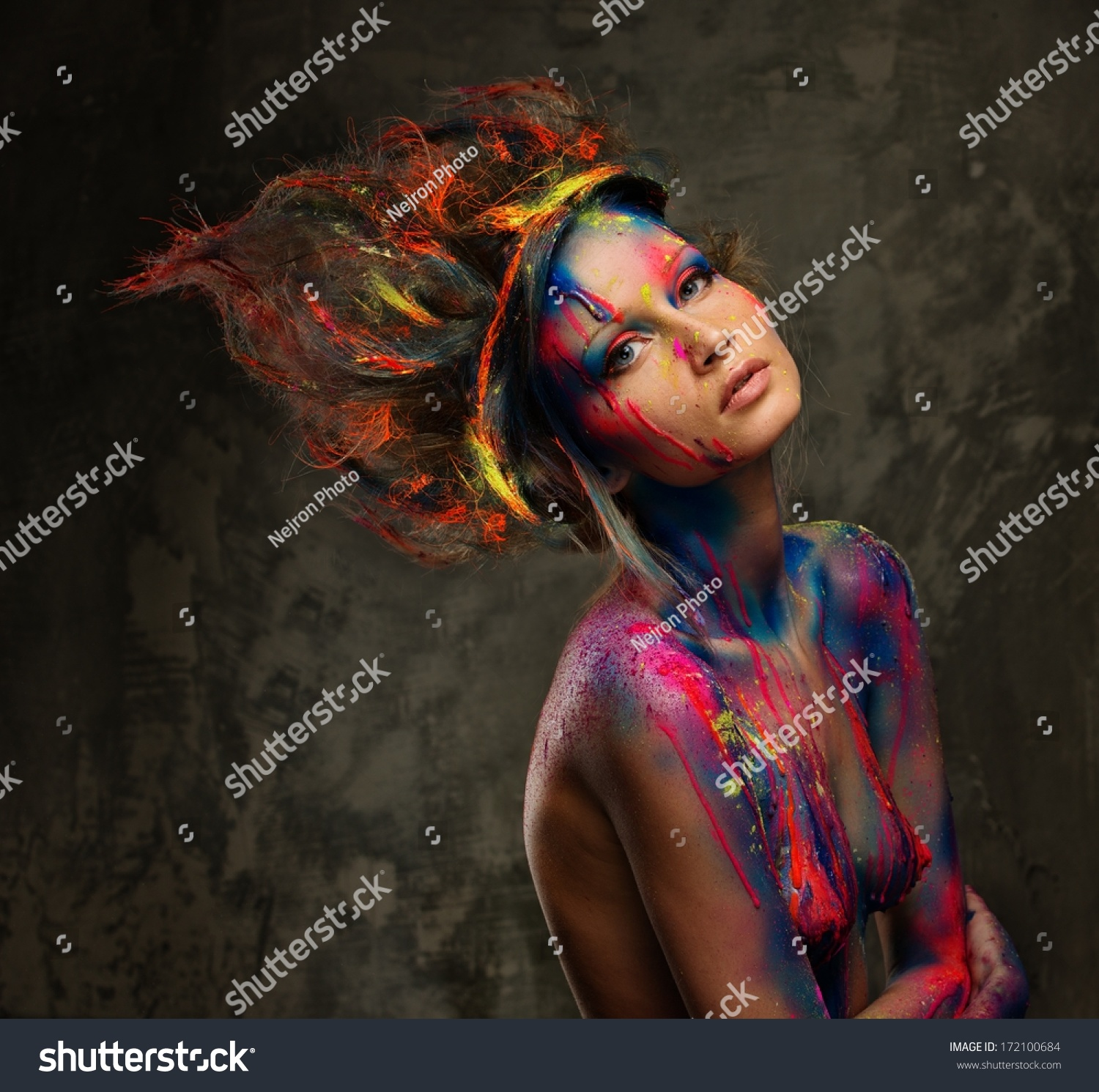 Young Woman Muse Creative Body Art Stock Photo Edit Now 172100684
