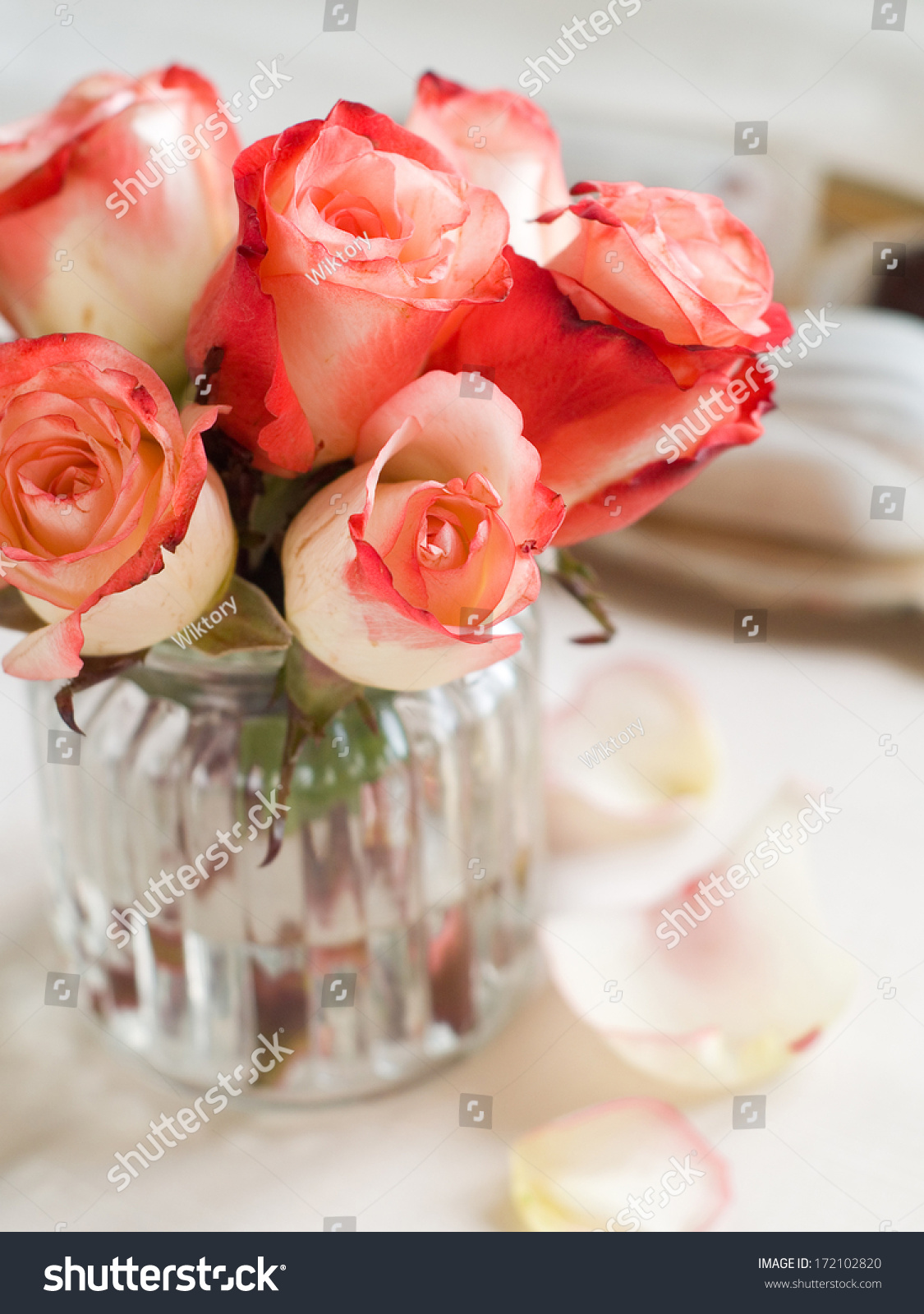 Beautiful Roses Glass Vase Chocolate Candy Stock Photo Edit Now