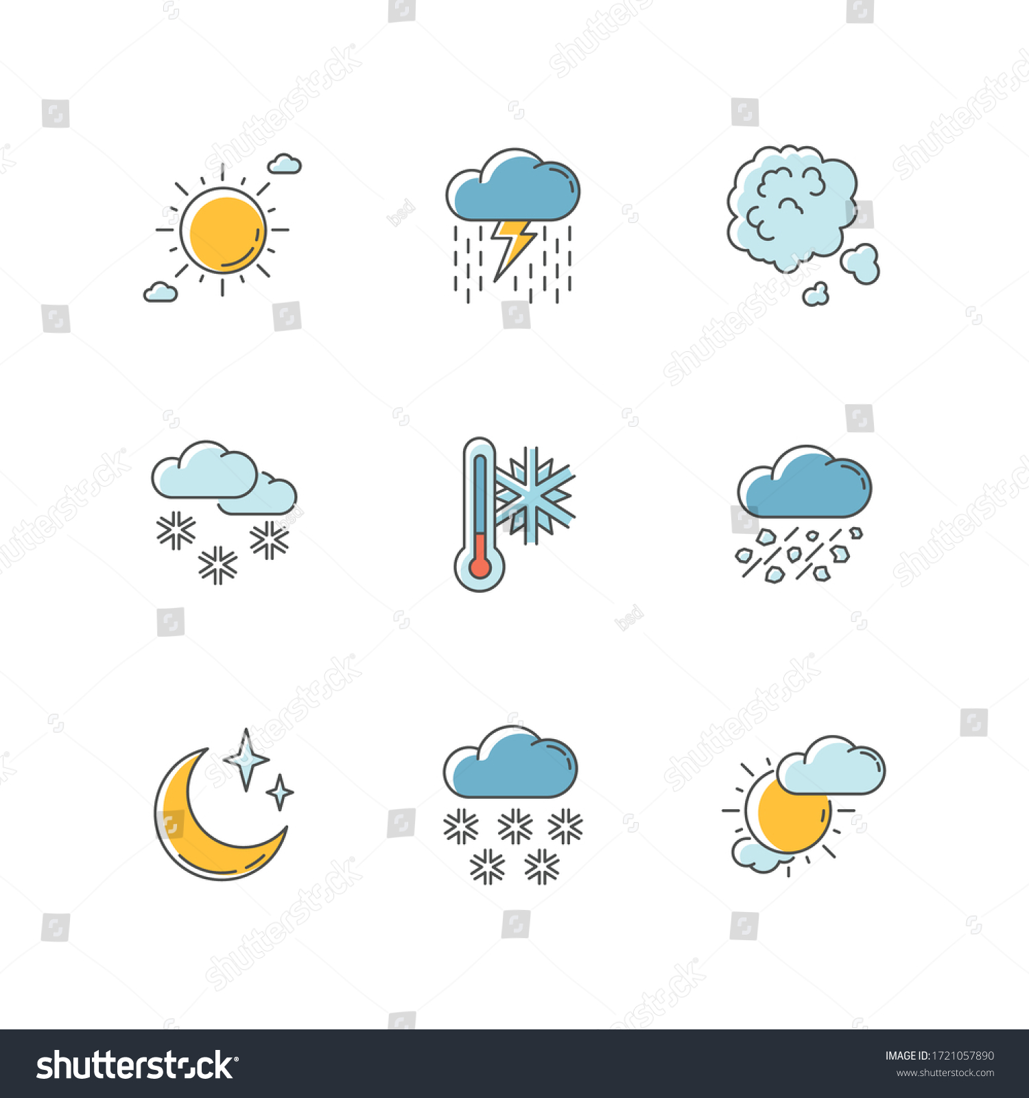 Sky clarity and precipitation RGB color icons set. Seasonal weather forecast, meteorological report. Atmosphere condition prediction. Isolated vector illustrations