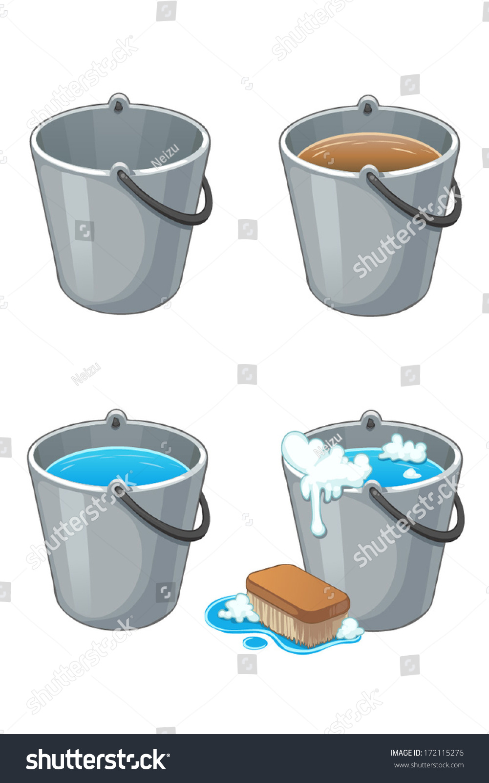 set of metal buckets with water on white