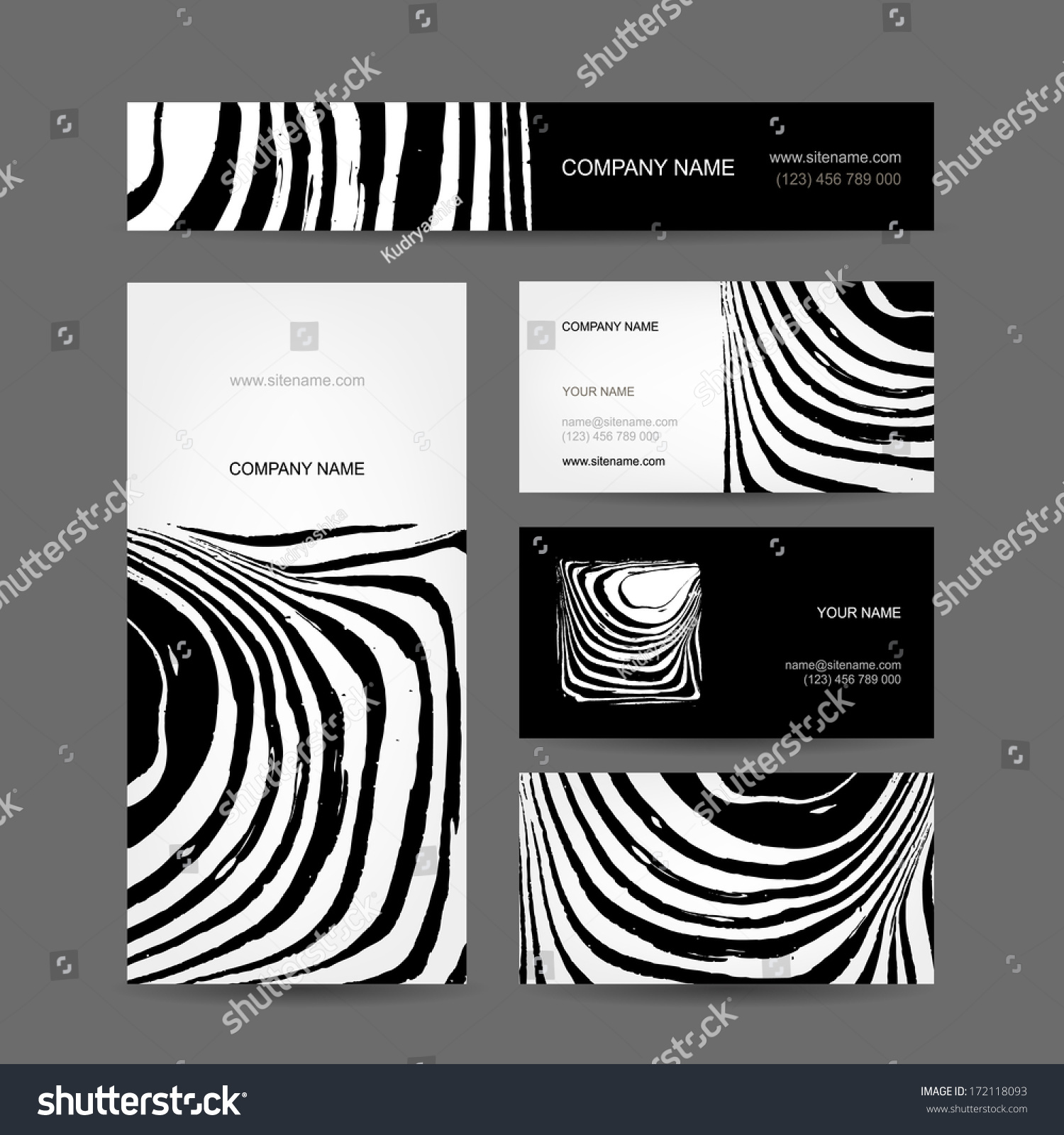 Set of abstract creative business cards zebra print design