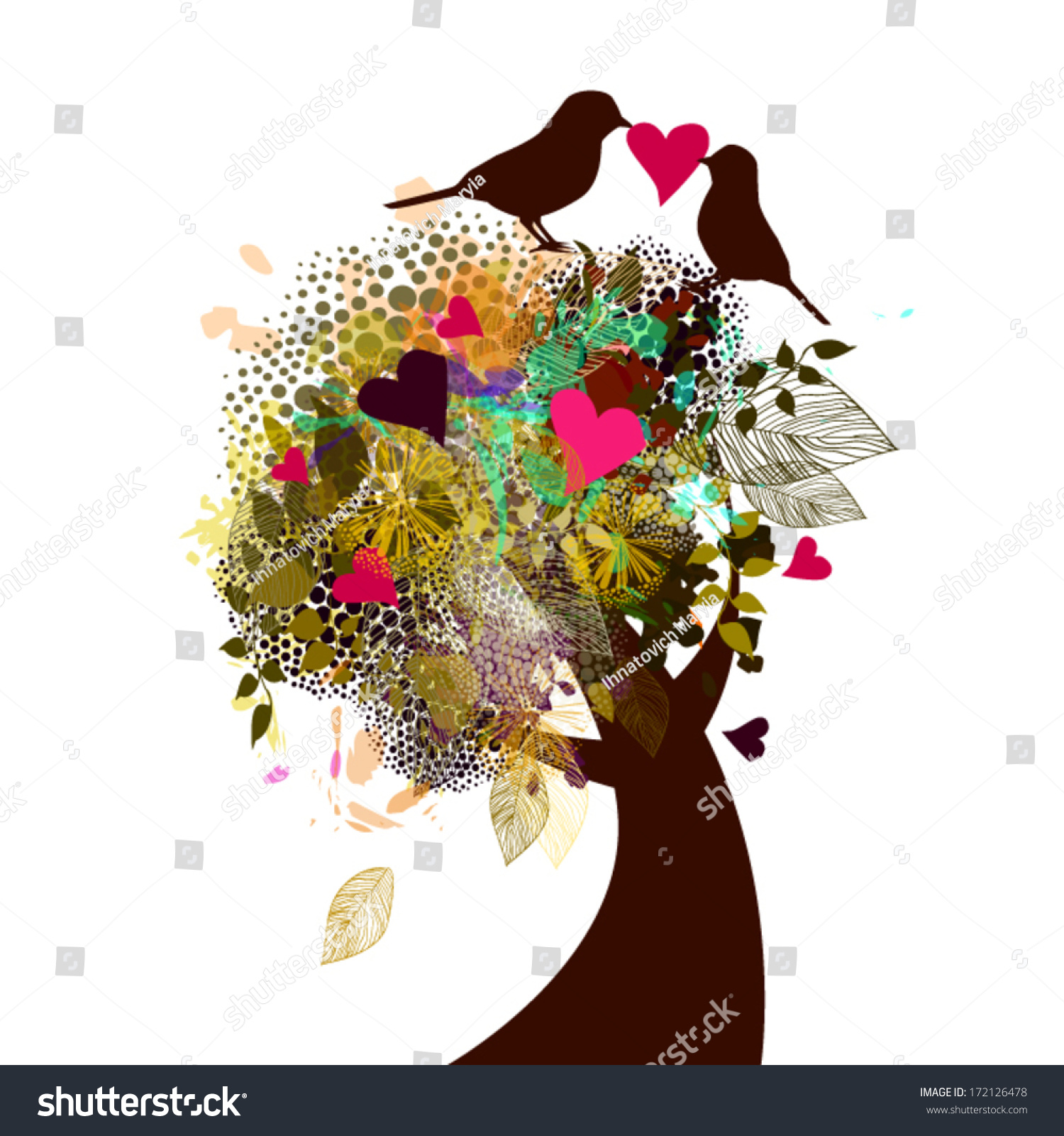 Beautiful Tree Flowers Birds Love Message Stock Vector Royalty Free