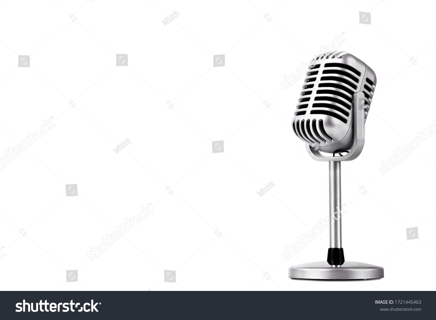 Retro style microphone isolated on white background #1721445463