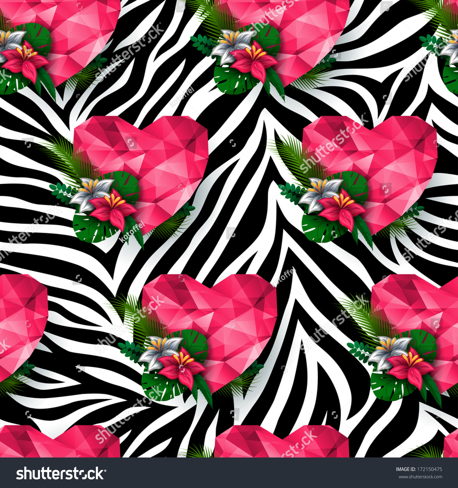 Chic Vector Seamless Patterns Tiling Animal Stock Vector ...