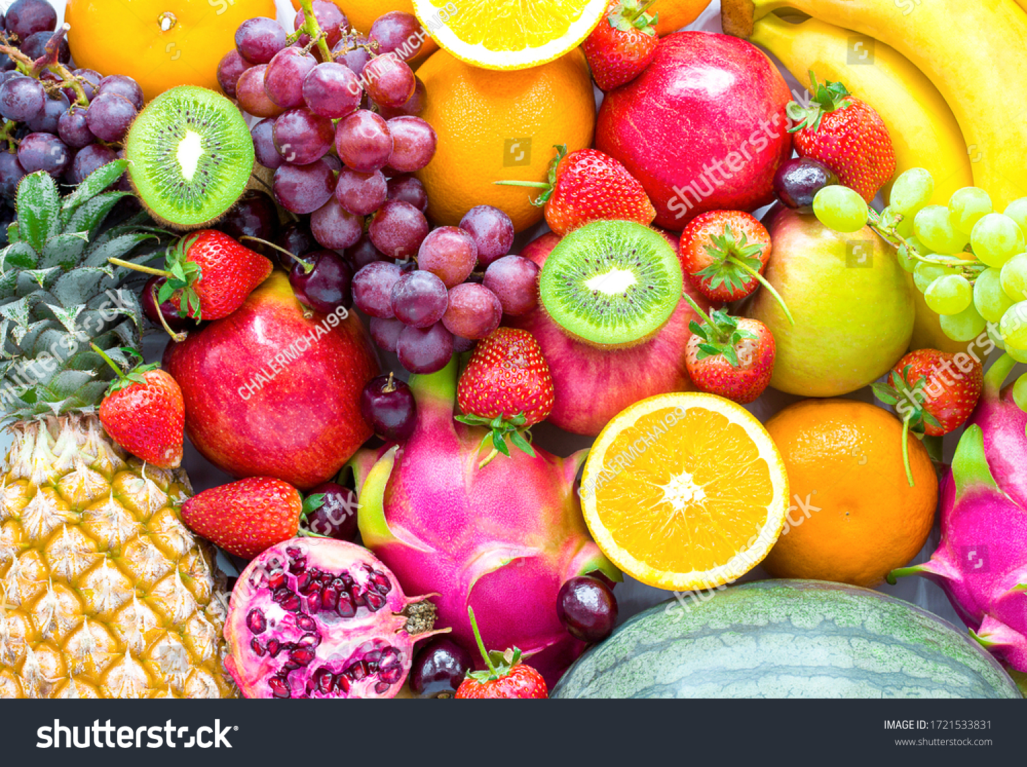 Fresh fruits.Assorted fruits colorful,clean eating,Fruit background #1721533831