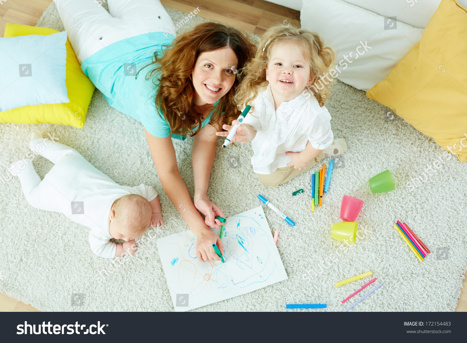 Aboveview Portrait Beautiful Babysitter Looking After Stock Photo ...