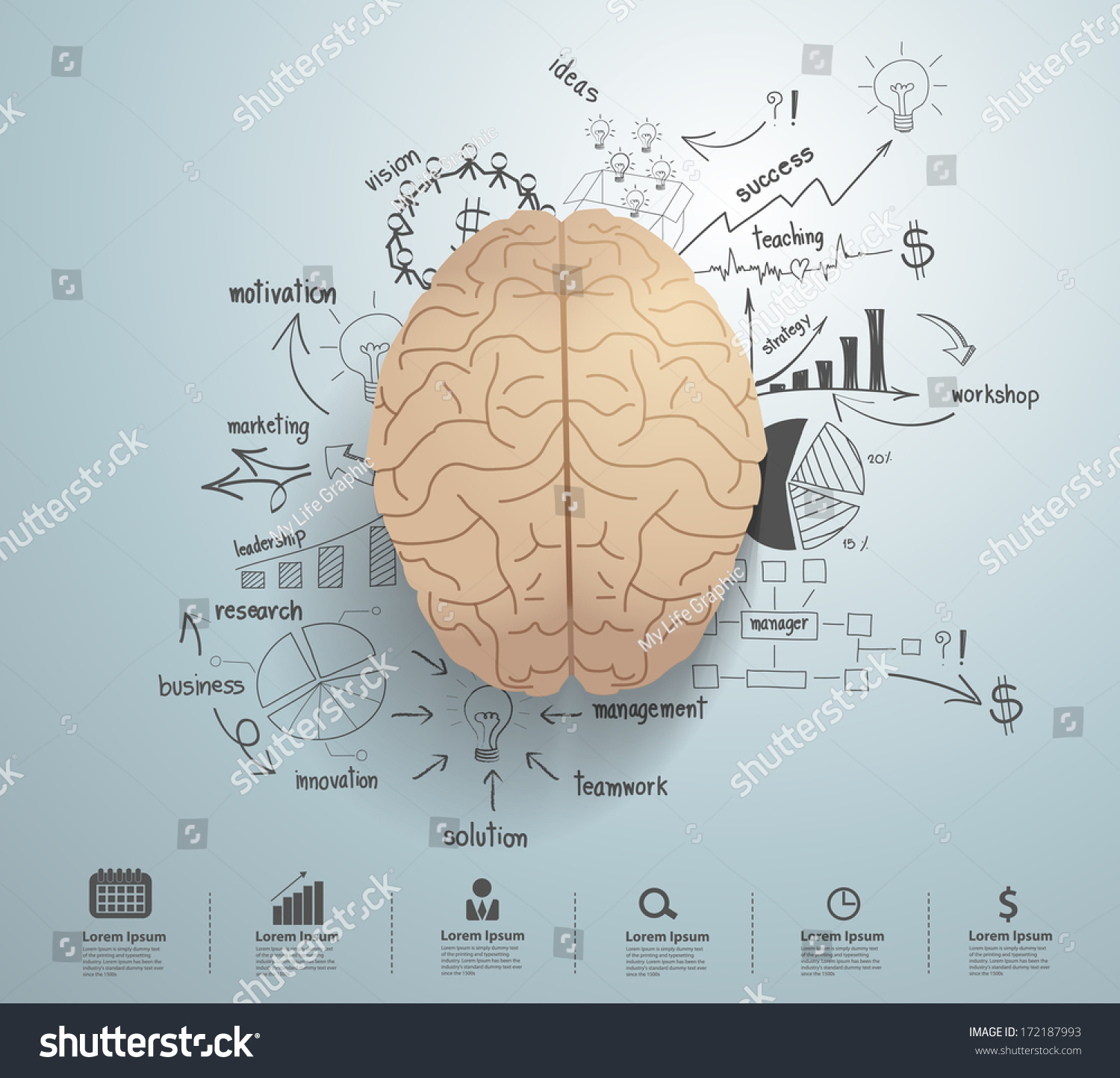 Royalty-free Creative brain with drawing business… #172187993 Stock ...