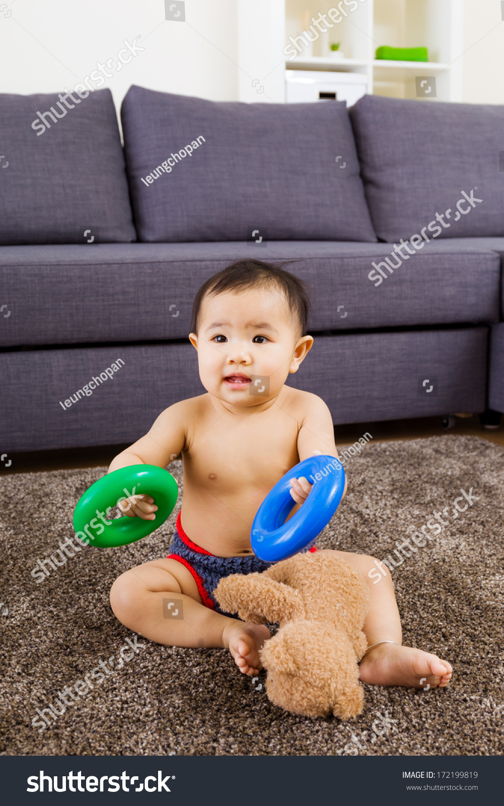 Baby Seating On Carpet Play Doll Stock Photo 172199819 - Shutterstock