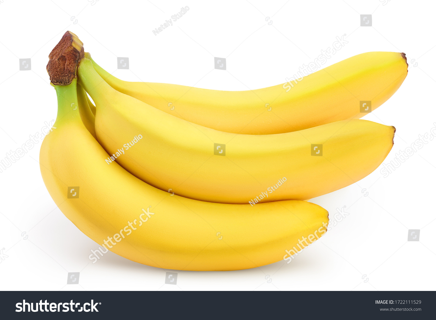 Bunch of bananas isolated on white background with clipping path and full depth of field. #1722111529