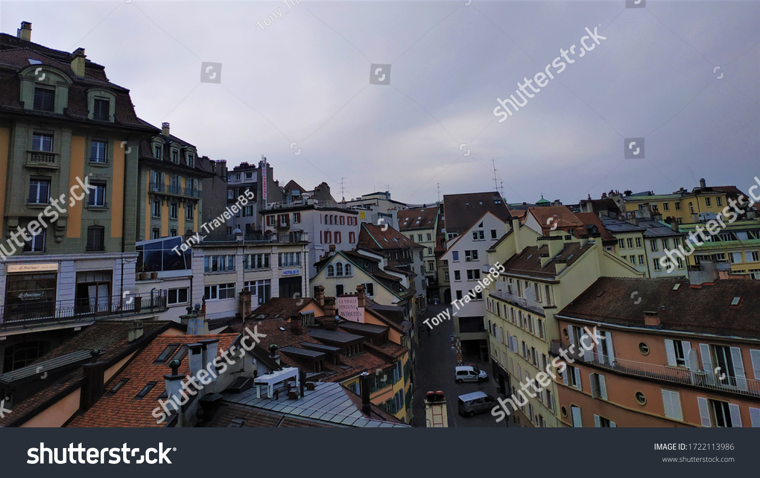 Lausanne, Switzerland - November 2018: Panorama of the medieval city of Lausanne.