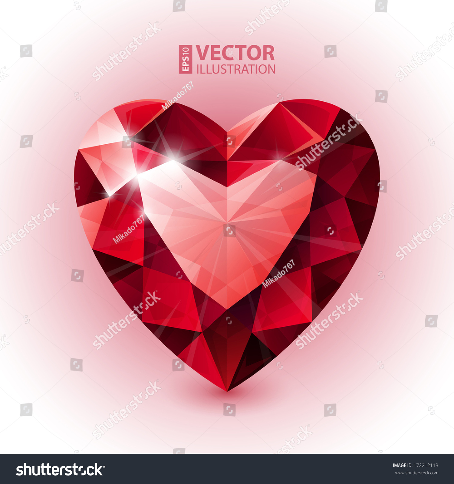 Red Ruby Heart Shape Rgb Eps 10 Vector Illustration