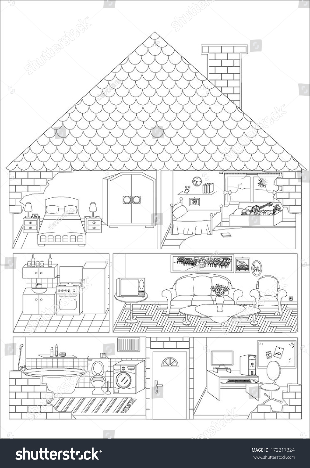 House outline with rooms - All Rooms In The House Outline Vector Art Image Illustration Isolated On White