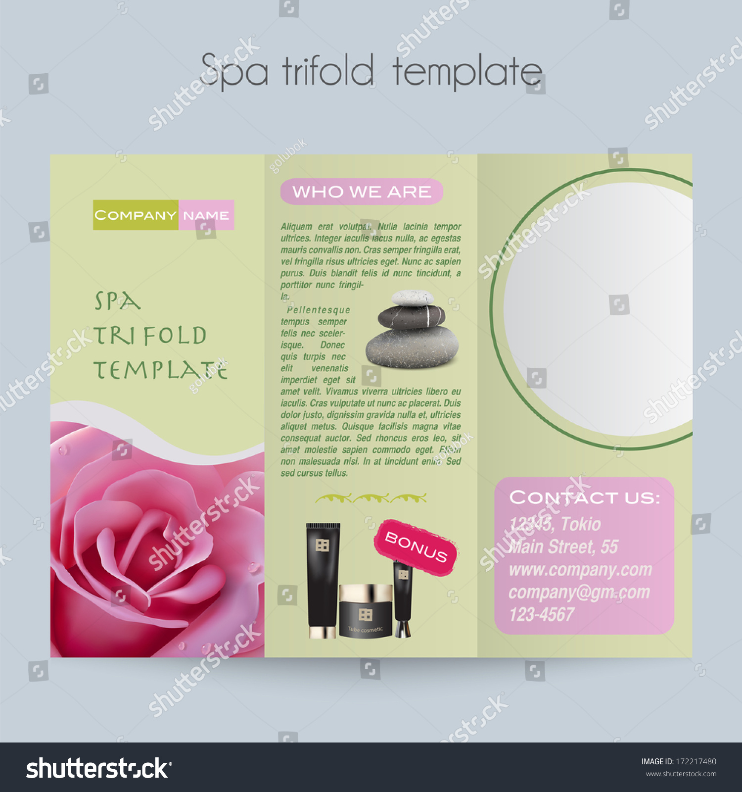 beauty brochure templates - beauty spa salon trifold mock template stock vector