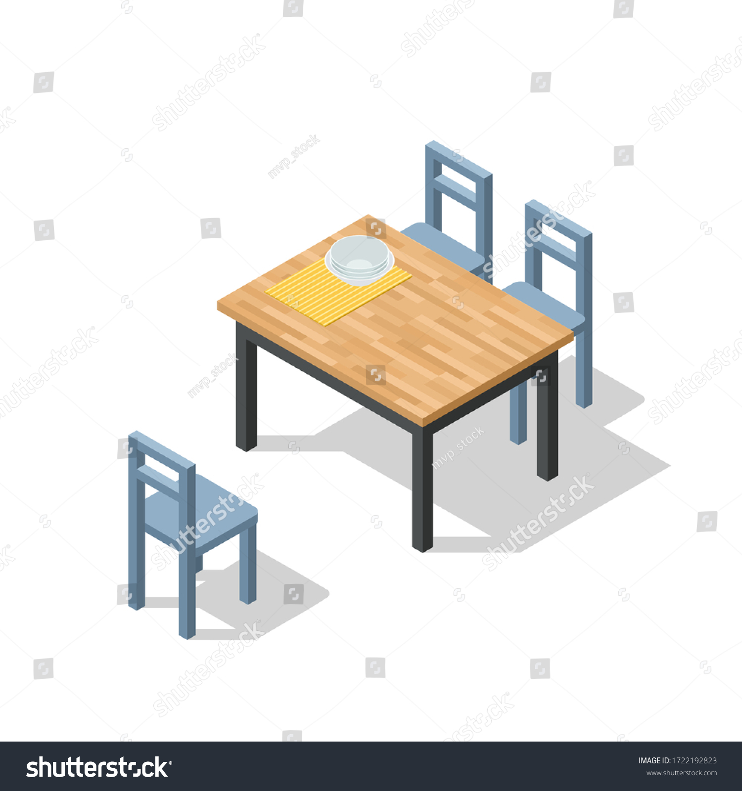 Vector Isometric Dining Room Furniture Set Stock Vector Royalty Free 1722192823