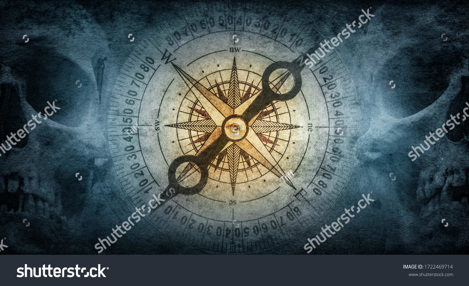 Skull of an old sailor pirate and vintage compass on a background of old paper. Symbol of travel, adventure, geographical discoveries, history, treasure hunt. Pirate and nautical grunge background. #1722469714